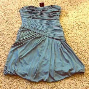NWT BCBG Max Azria Blue Fog Strapless Dress Small